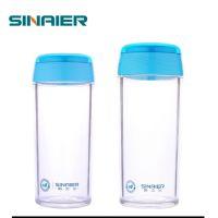 厂家直销新款创意透明塑料随手水杯单层带盖塑料杯子口杯批发
