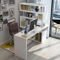 拐角书柜书桌书架组合一体电脑台式桌家用简约省空间经济型大学生
