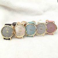 速卖通热卖 时尚日内瓦手表 Geneva手表 典雅小花皮带石英手表