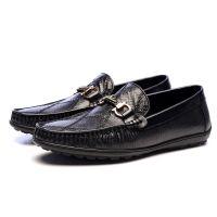 真蜥蜴皮拼花手工时尚商务休闲男鞋透气牛内里按摩式牛皮鞋垫