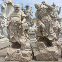 1.6米福建惠安青石五百罗汉石雕 有现货可定制 寺院石雕