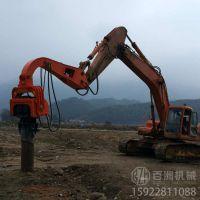 钢板桩打拔机装多挖掘机 打钢板桩的打装机-百洲