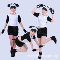 儿童熊猫表演服 小熊猫卡通动物演出服装 幼儿园舞蹈动物造型服饰