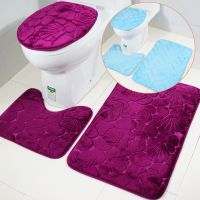 新款外贸马桶地垫三件套玫红贝壳浴室垫3件套亚马逊速卖通热卖