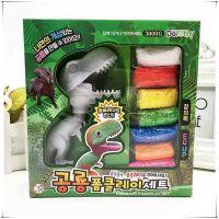 儿童益智玩具雪花泥diy制作恐龙超轻粘土黏土恐龙上色彩泥套装礼