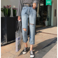 全国的牛仔裤批发韩版时尚高腰弹力小脚裤九分裤清5元清货