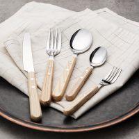 日本进口高桑金属 不锈钢勺子 榉木手柄甜品叉 餐厅用品