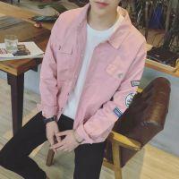 jsh韩版男女bf原宿风夹克衫韩潮流宽松棒球服上衣粉色蝙蝠袖外套