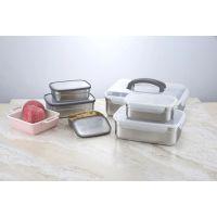 304不锈钢韩国保鲜盒泡菜盒密封塑料盖长方形厨房食物冷藏储物盒