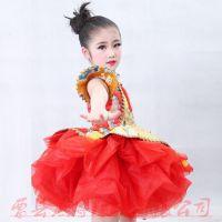 新款六一儿童演出表演服女童纱裙中国风旗袍舞台服龙袍蓬蓬裙精致