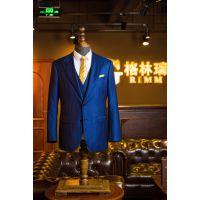 男士商务休闲西服套装 修身纯羊毛条纹双排两粒扣青年西装领西装定制