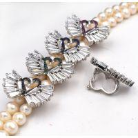 扣子配件 珍珠项链天鹅造型夹扣 双排固定夹层diy毛衣链隔层卡扣
