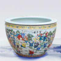 彩绘陶瓷大缸摆件 时尚装饰鱼缸