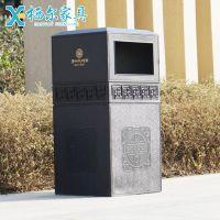 户外铸铝垃圾桶 庭院园林垃圾箱仿古铁艺果皮箱小区垃圾筒回收箱金属箱