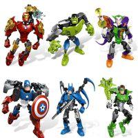 钢铁侠蝙蝠侠绿巨人美国队长复仇者联盟3拼装机器人积木玩具公仔