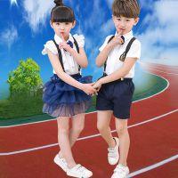 2017夏季带领结背带英伦儿童幼儿园校服班服表演服批发代发