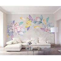 无缝大型壁画 3d立体墙纸电视背景手绘简约田园花卉壁纸自粘墙布