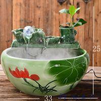 品鱼行缸流水陶瓷喷泉客厅装饰品工艺品干燥喷泉养鱼高脚瓷器喷泉