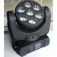 供应新款7颗12W rgbw四合一LED摇头光束灯 舞台染色光束电脑摇头灯