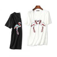 18夏季新品 时髦有范儿 重工火烈鸟亮片刺绣 莫代尔圆领短袖T恤女