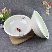 青荷花仿瓷大汤盆密胺餐具大汤碗塑料面碗大碗公餐厅饭店专用碗