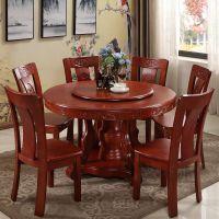 1.8米实木圆形餐桌椅组合带转盘中式10人橡木大圆桌1.5米家用圆桌