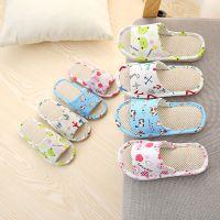 jsh儿童棉布亲子拖鞋男女童亚麻宝宝家居小孩中大童夏季地板室内