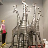 玻璃钢3米高长颈鹿雕塑彩绘动物摆件游乐园仿真动物雕塑