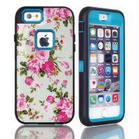 苹果6s双层保护手机壳 iPhone6 pc+硅胶防摔白花创意手机壳潮创意