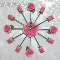 厦门一件混批日韩时尚树脂玫瑰挂钟 金属钟表 工艺品厂家定制批发