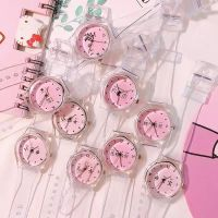 粉色少女心个性文字手表女学生简约透明表带小清新可爱软妹卡通表