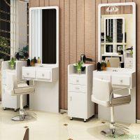 柜子梳妆理发店单面双面化妆台铁艺风格工作室工具柜双面美发镜台