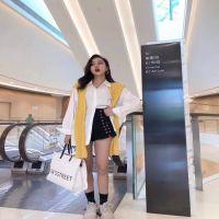 实拍2018初秋女装韩版衬衫新款港味披肩拼接长袖宽松纯色衬衣