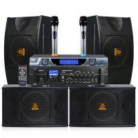 会议音响套装 狮乐AV106/BX103/SH09KTV音响10寸专业卡包箱功放话筒 木制音箱厂