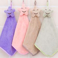 挂式可爱笑脸珊瑚绒擦手巾毛巾厨房加厚吸水不掉毛抹布洗碗布