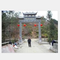 神画石雕厂家直销农村入口石牌坊 单门三门大型村庄石雕牌坊
