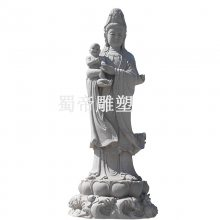 大型露天石雕观音菩萨像价格 三面观音石雕石雕观音雕塑