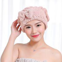 韩版珊瑚绒干发帽 蝴蝶结菠萝格吸水沐浴干发巾加厚速干浴帽批发
