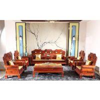 0025缅甸花梨木大果紫檀实木客厅沙发11件套