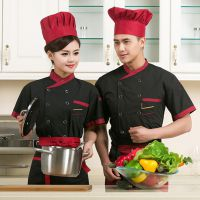 厂家现货批发夏季酒店厨师服短袖男女饭店西餐厅厨房工作制服黑色