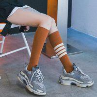 秋季长筒袜子女韩国小腿袜日系及膝袜子条纹高筒堆堆袜AB款运动袜