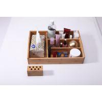 竹质韩国化妆品收纳盒首饰盒  多功能办公桌面整理箱 带纸巾盒