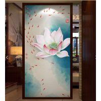 新中式玄关装饰画现代中式荷花禅意画客厅走廊过道中国风挂画竖版