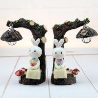 创意欧式田园兔子树脂工艺摆件 带灯家居装饰 情人节教师节礼物