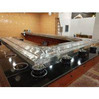 广东厂家直销新款回转式火锅餐桌 旋转麻辣烫餐桌 涮烤一体餐桌