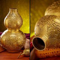 开光八卦纯铜葫芦摆件居家风水装饰品 工艺品送五帝钱挂件