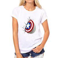 2016速卖通WISH新款美国队长3D印花女士修身圆领短袖T恤打底衫