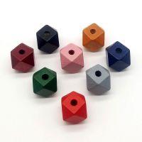 DIY自制手工饰品材料 12mm14mm八角木珠 复古木质几何吊坠挂件