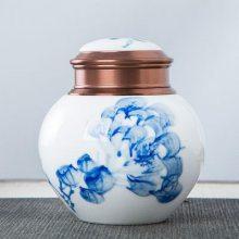 陶瓷家用茶叶罐小号迷你便携密封罐青瓷茶叶包装盒通用存储罐定