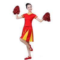 新款中国红成人拉拉队演出服套装团体健美操舞台表演服啦啦操衣服